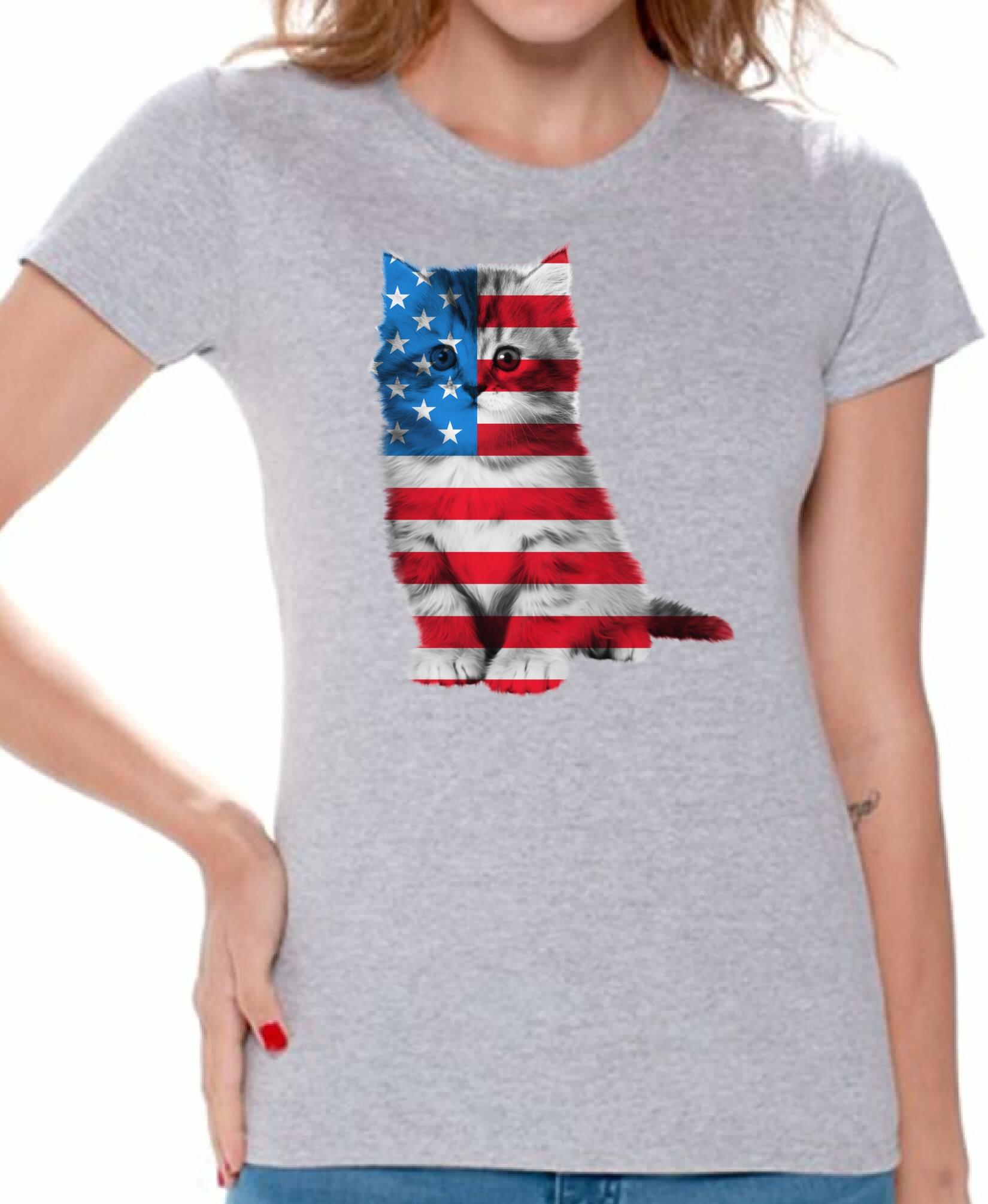 Usa Flag Cat Women 39 S T Shirt Tops Cute 4th Of July Gift