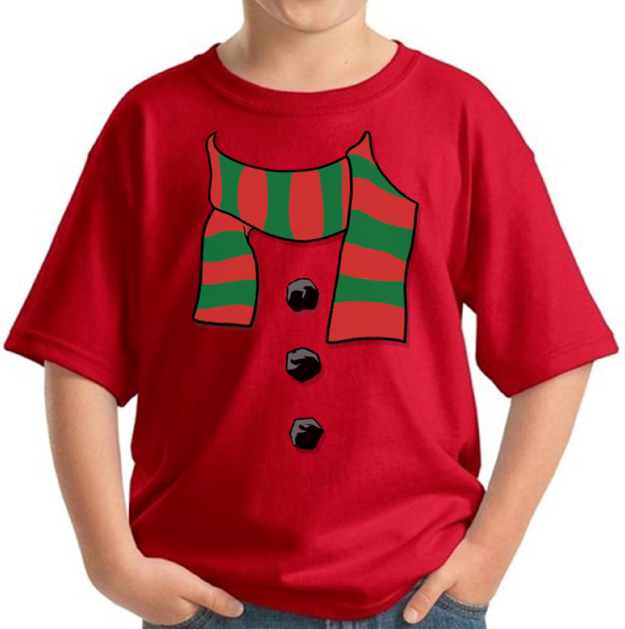 Snowman Scarf Christmas Shirts for Kids Christmas Costume Youth ...