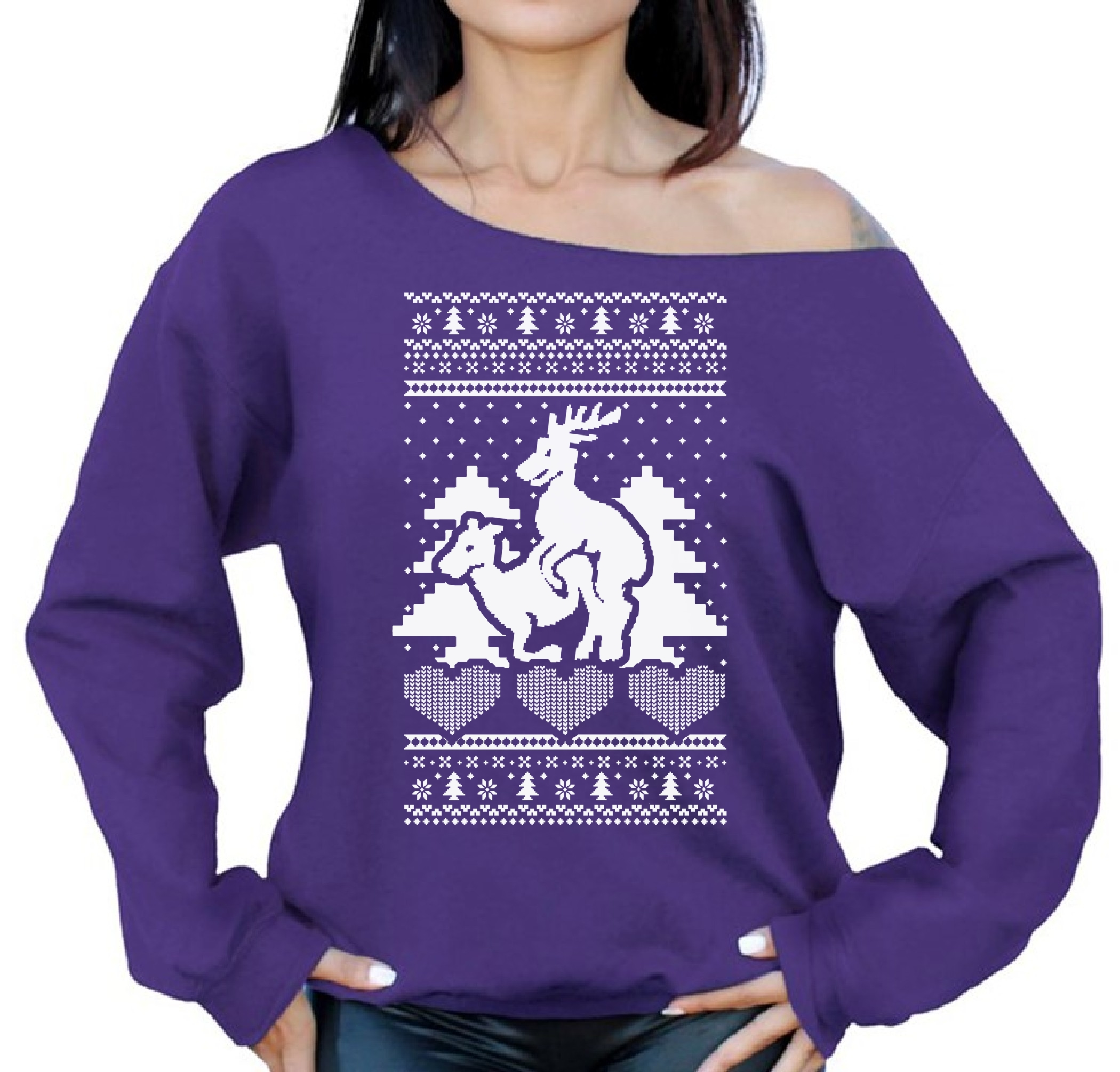 Reindeer Humping Ugly Christmas Sweater for Women Off the Shoulder ...