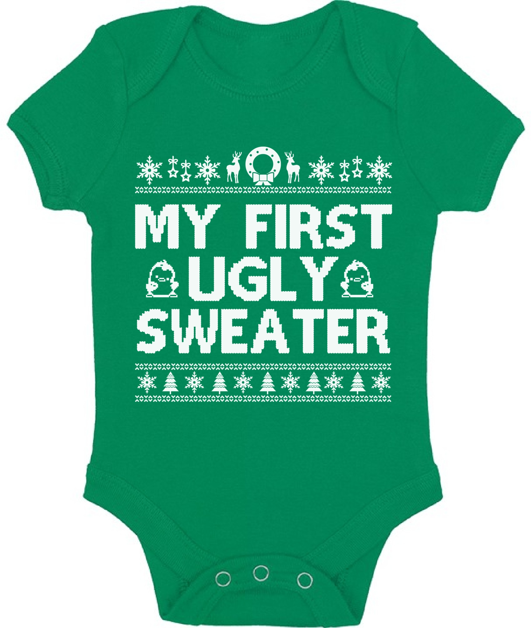 my first ugly sweater baby bodysuit funny christmas
