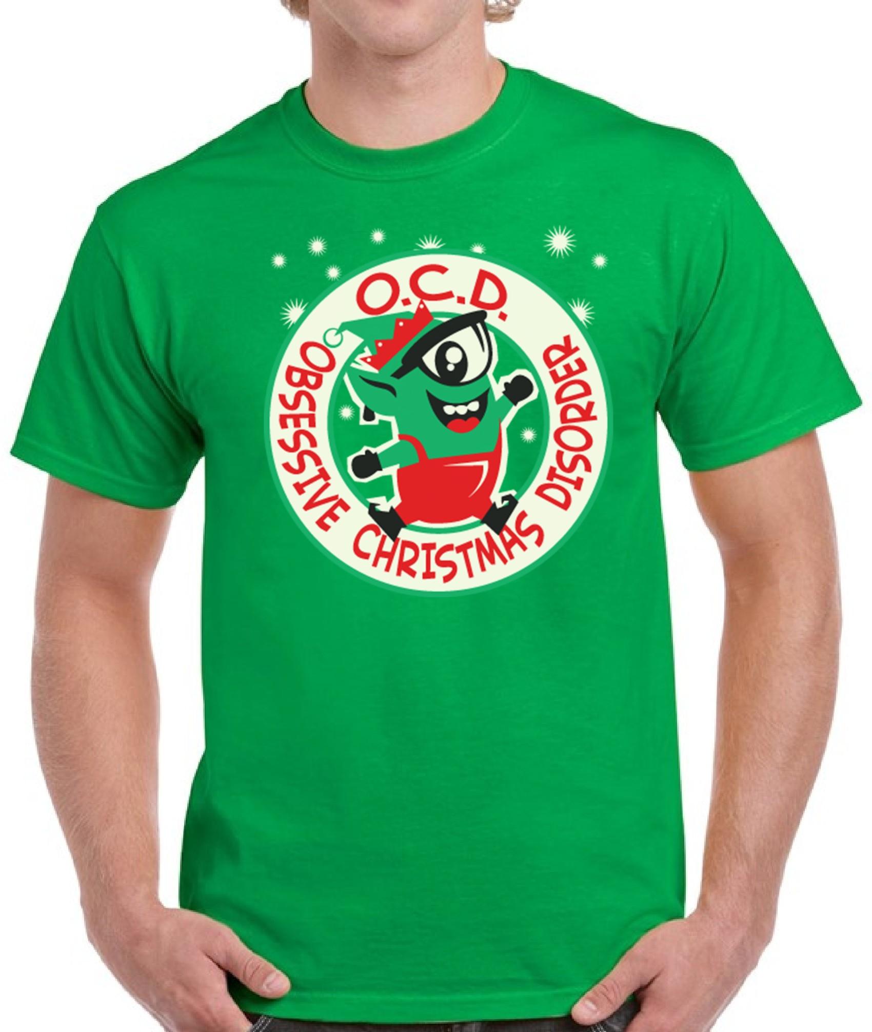 OCD Obsessive Christmas Disorder Ugly Christmas Shirt Men\'s Top for ...