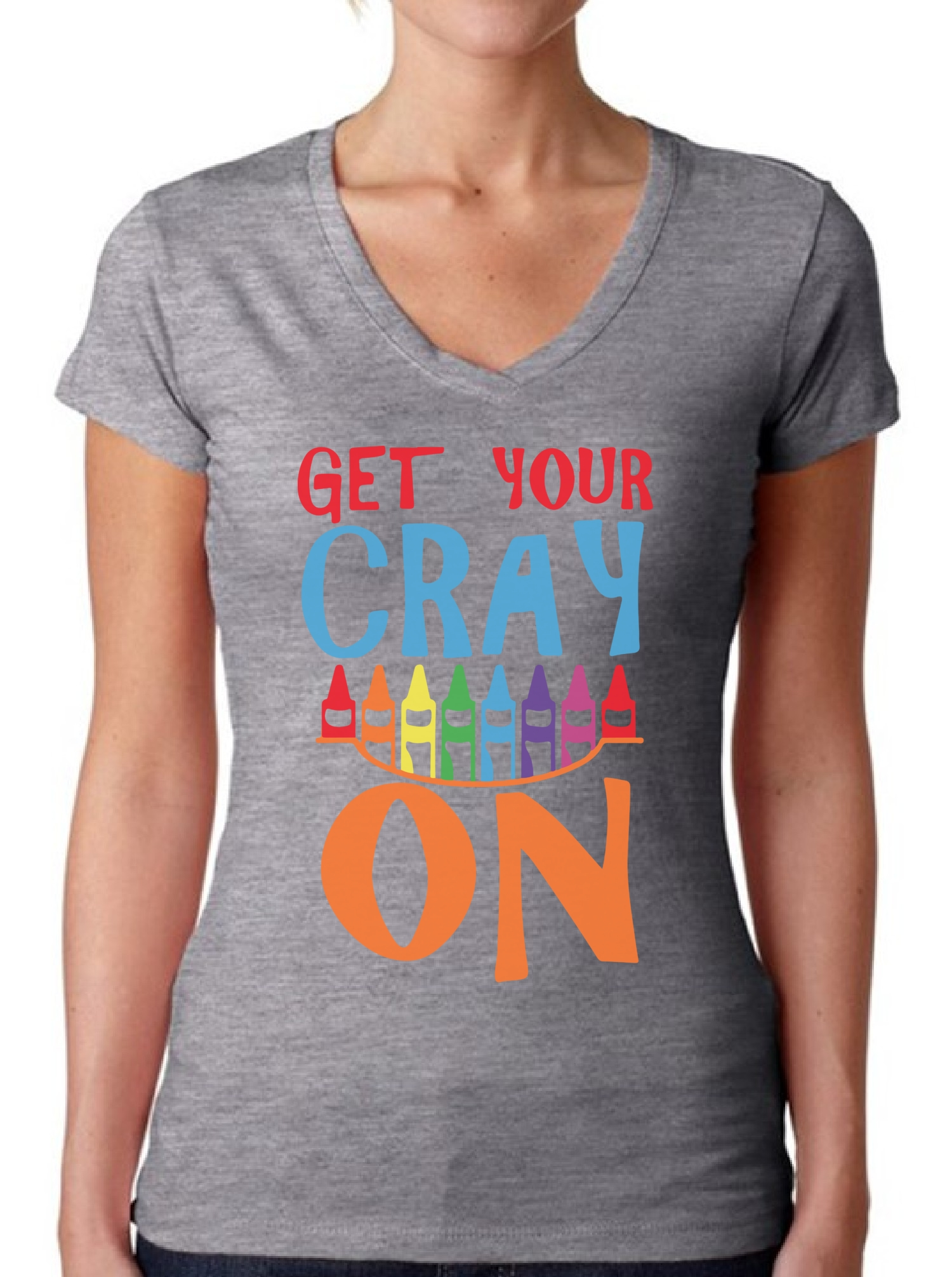 Womens Get Your Cray On V Neck T Shirts Shirts Tops Back