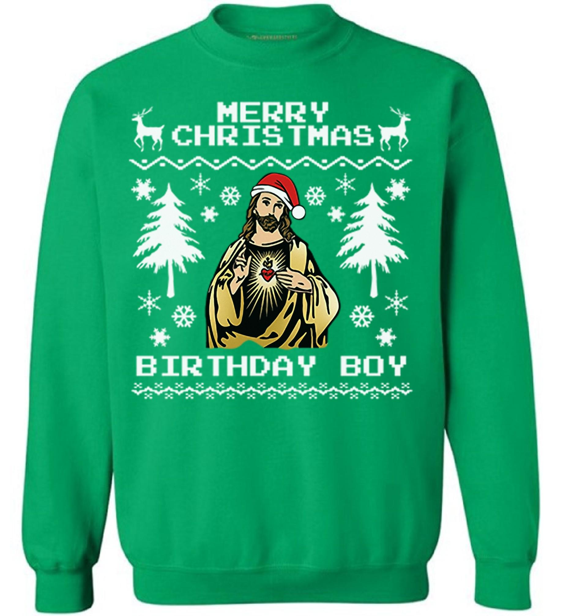 Merry Christmas Birthday Boy Sweatshirt Jesus Christmas Sweater Ugly ...