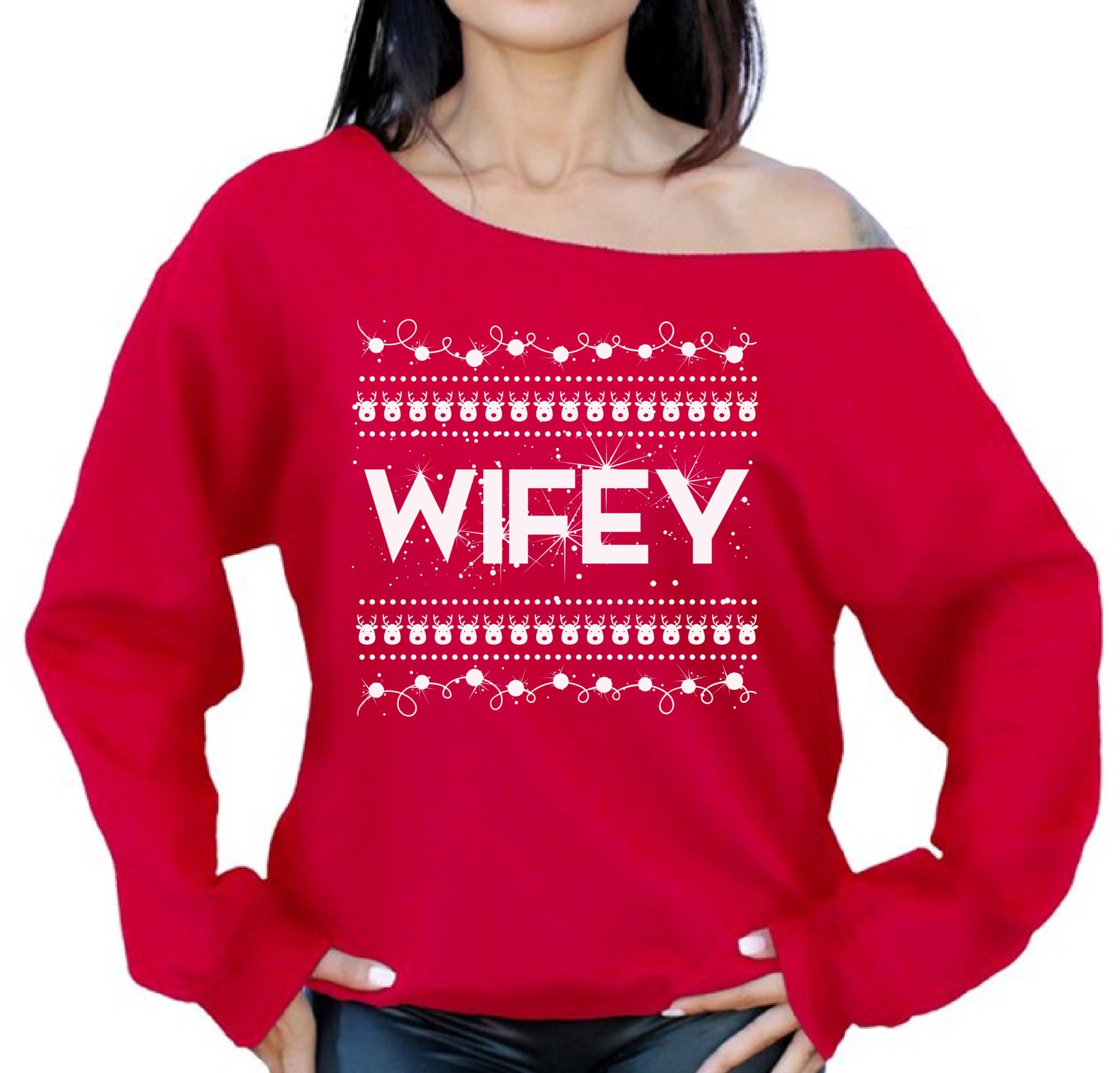 Wifey Sweatshirt Wifey Christmas Sweater Off the Shoulder Top Xmas ...