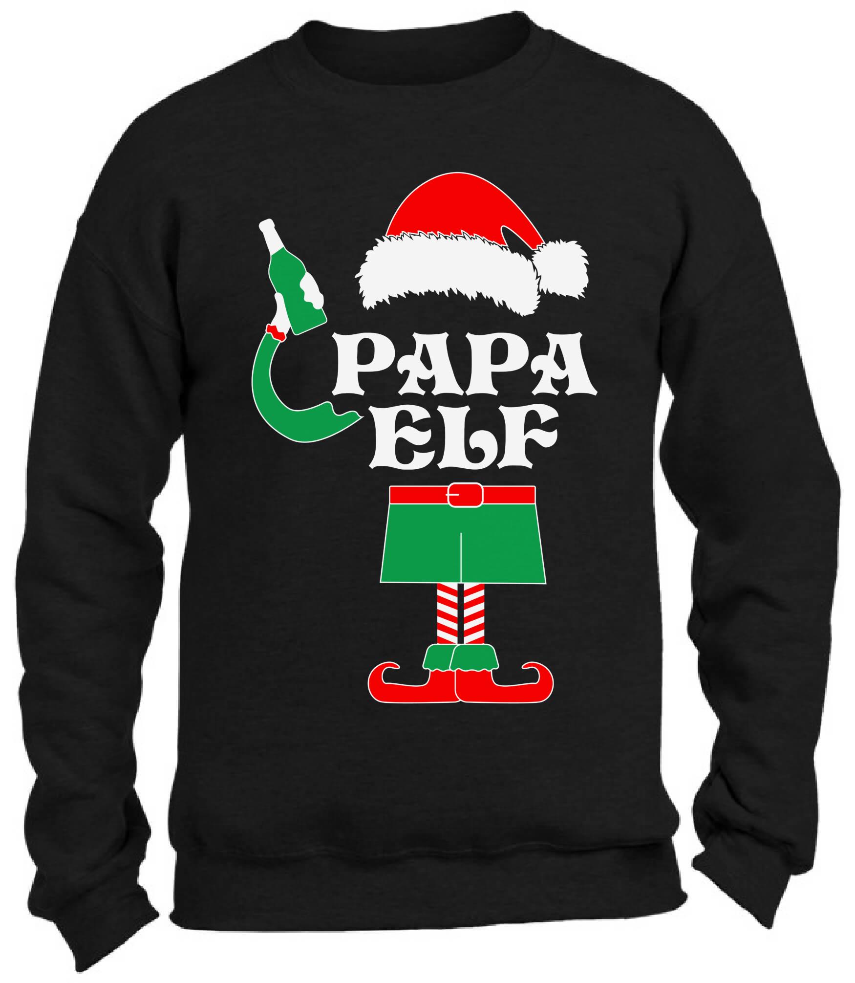 Papa Elf Sweatshirt Ugly Christmas Sweater Papa Elf Beer Drinking