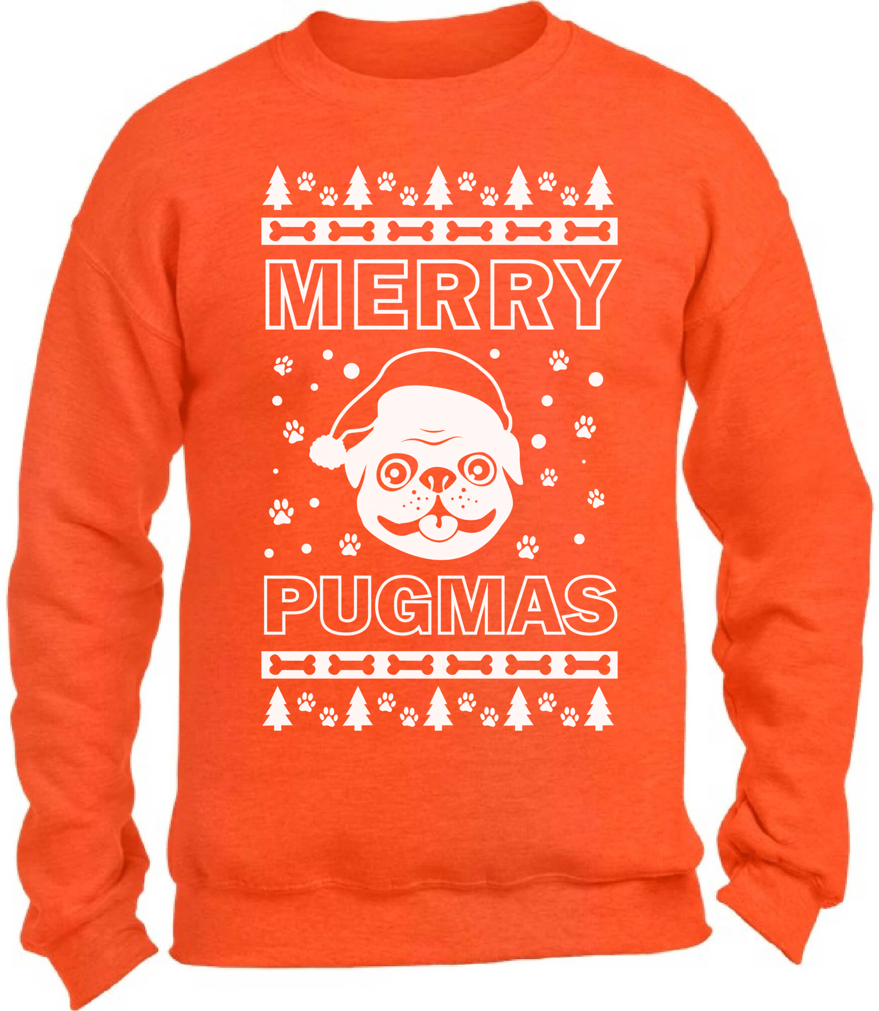 Merry Pugmas Christmas Sweatshirt Funny Pug Dog Santa Christmas ...