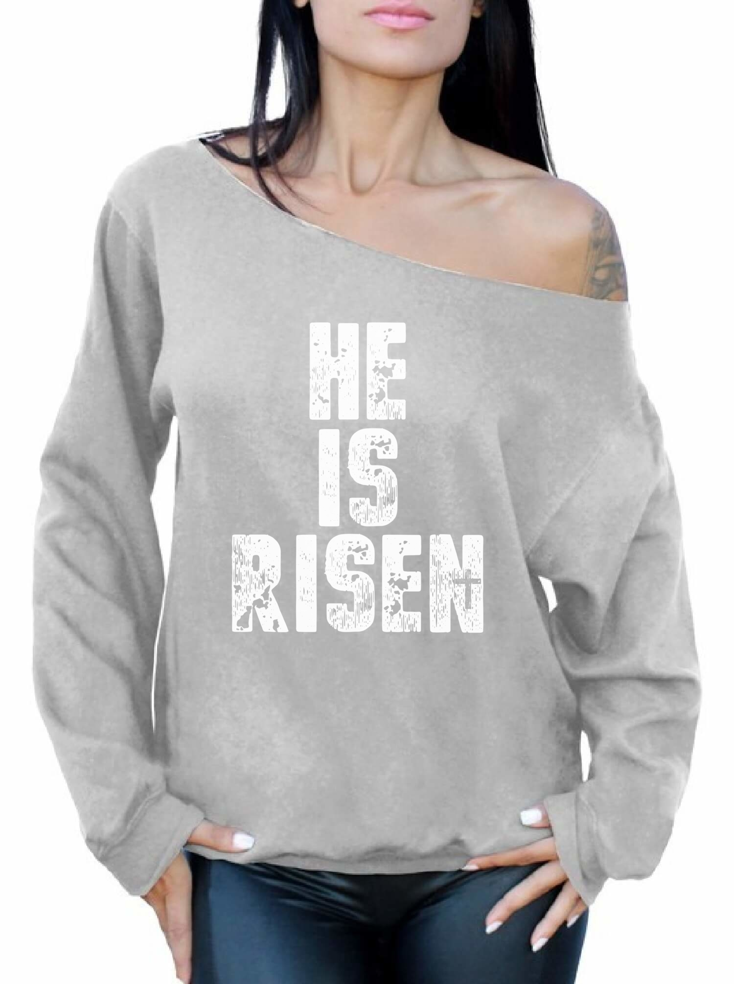 He is risen womens off shoulder sweatshirt christian easter gifts picture 5 of 5 negle Choice Image