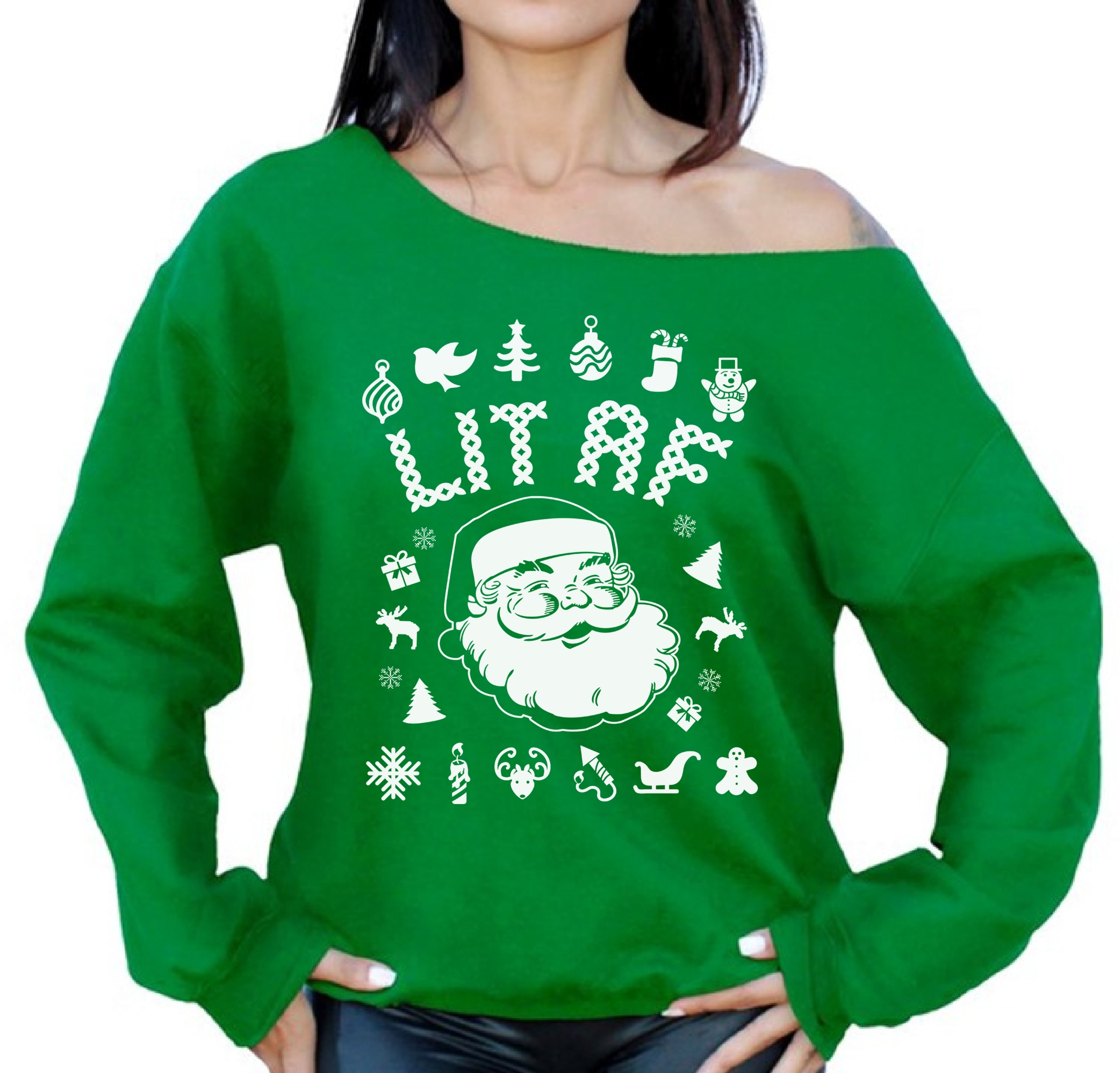 Off The Shoulder Lit Christmas Sweatshirt Ugly Christmas Sweater For