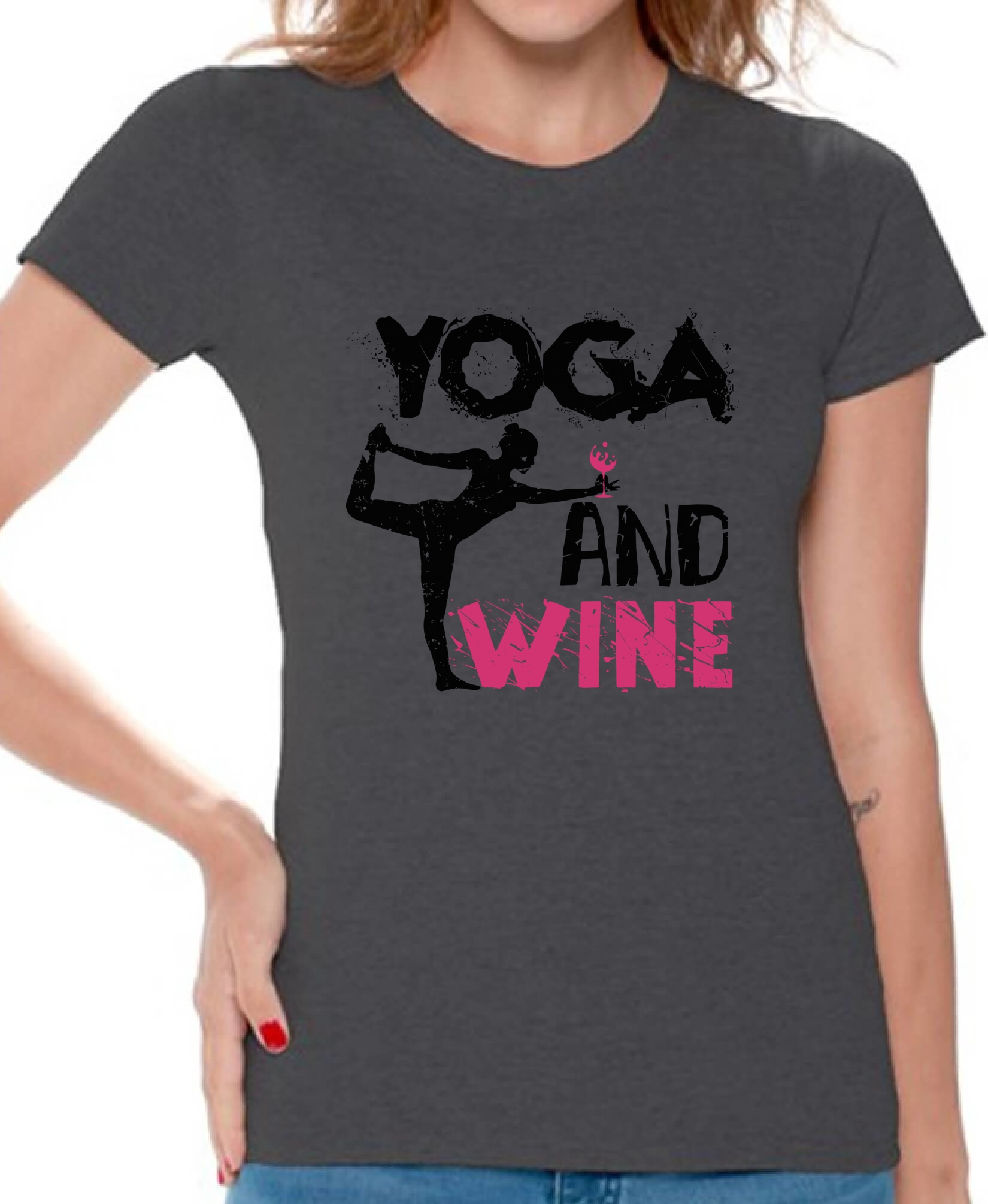 Yoga And Wine Women's T Shirt Tops Workout Gym Yoga