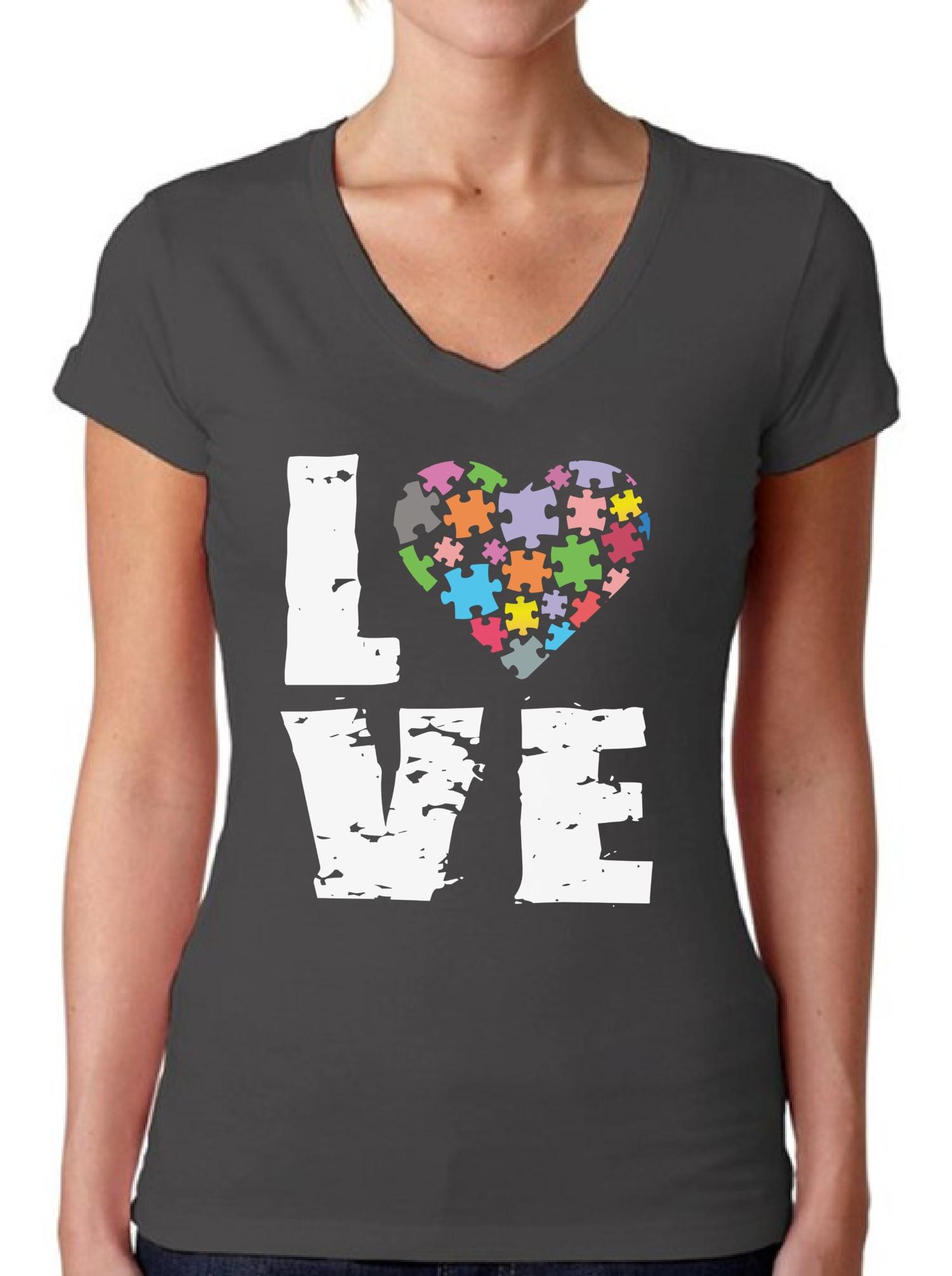 Autism Awareness V Neck T Shirts Shirts Tops Women 39 S Love